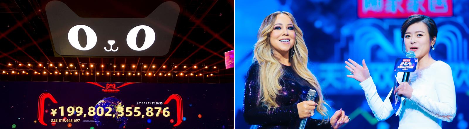 Mariah Carey bei der Online-Show von Alibaba, darunter die Verkaufszahlen des chinesischen Onlinehändlers