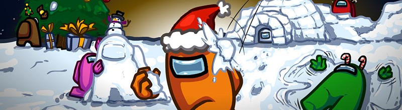 """Weihnachtliche Werbung für das Spiel """"Among Us"""" von Innersloth Games"""