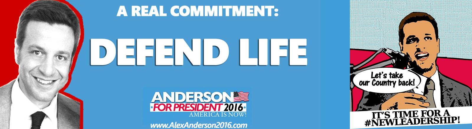 Das Wahlplakat von Alex Anderson mit dem Slogan America is now