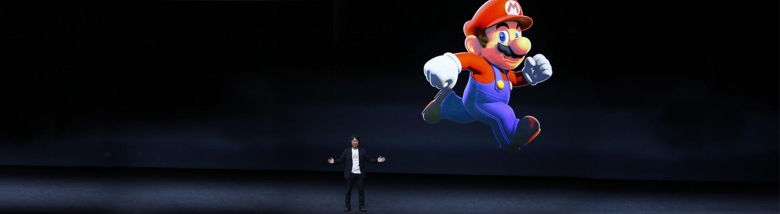 Die Super Mario Figur bei der Apple Keynote