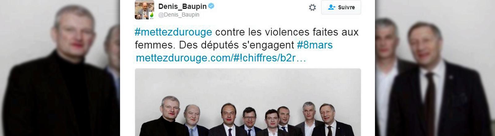 Denis Baupin und seine Kollegen posieren mit geschminkten Lippen