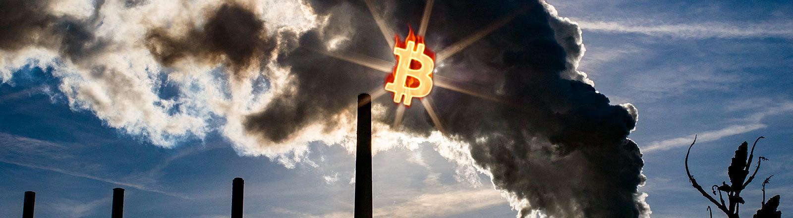 Kohlekraftwerk, Bitcoin-Logo vor der Sonne
