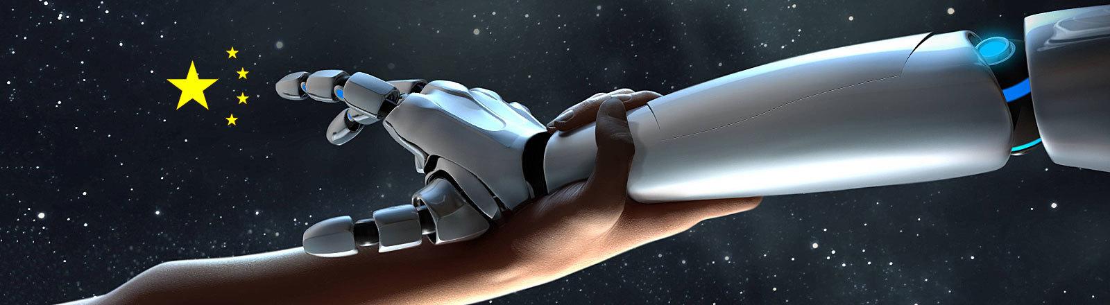 Menschliche Hand greift nach Roboterhand, die auf die Sterne der chinesischen Flagge zeigt
