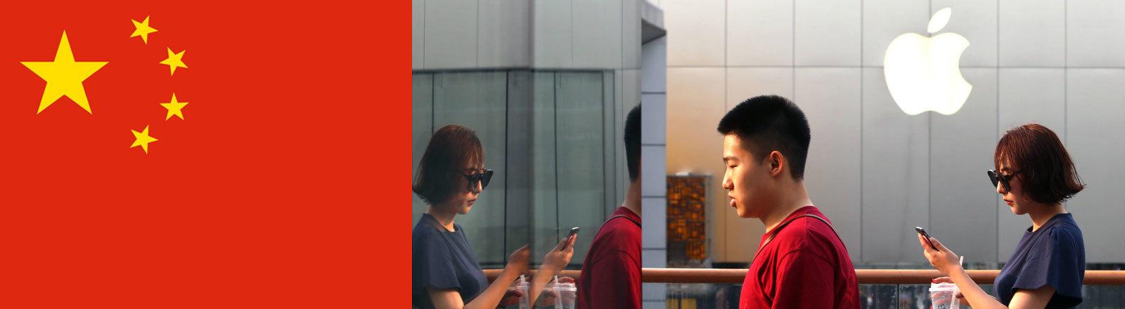 Chinesische Flagge / Chinesen laufen an Apple-Store in Peking vorbei