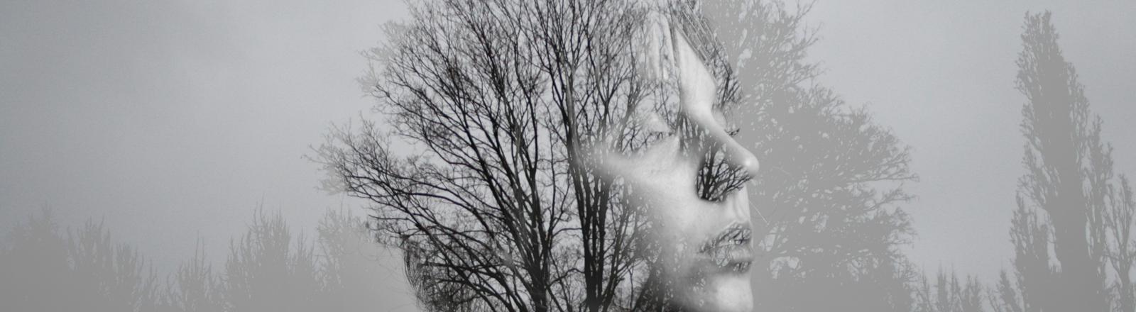 Ein schwarzweiß-Foto zeigt ein Portrait vor einer Herbstlandschaft