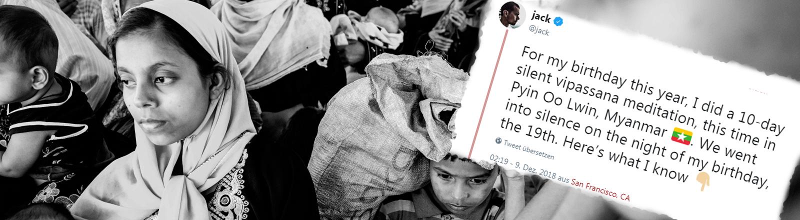 Geflüchtete Rohingya an der Grenze zu Bangladesch am 29. November 2018. Dazu der Tweet von Twitter-Chef Jack Dorsey.