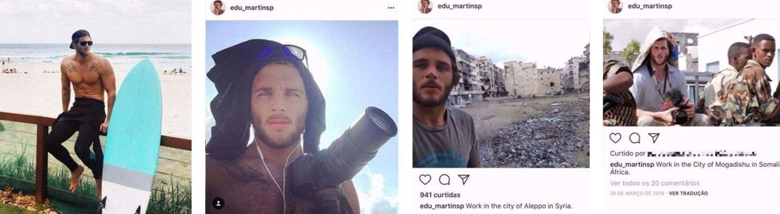 """Bilder von den Social-Media-Accounts der Fake-Identität """"Eduardo Martins"""""""