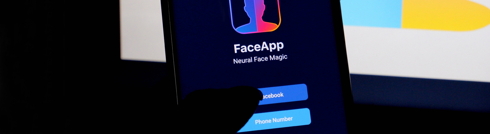In this photo illustration a photo editing application Like Faceapp logo seen displayed on a smartphone.