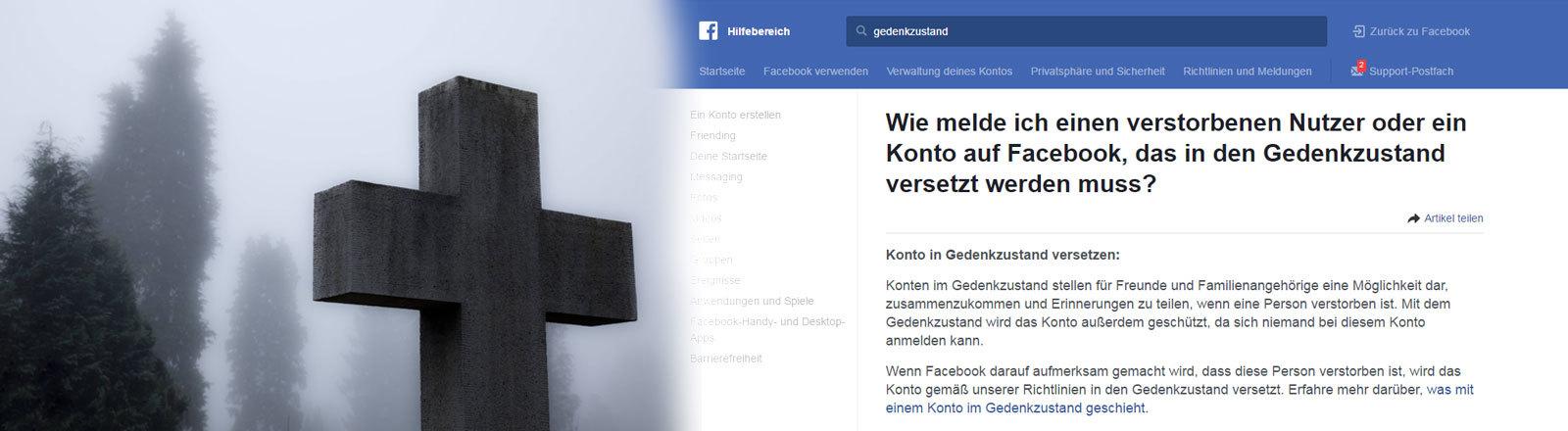 Collage: Kreuz und Screenshot Facebook mit der Infoseite, wie man einen Account in den Gedenkzustand versetzt