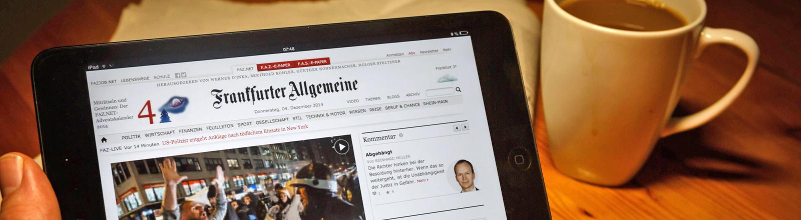 Frankfurter Allgemeine Zeitung auf Tablet