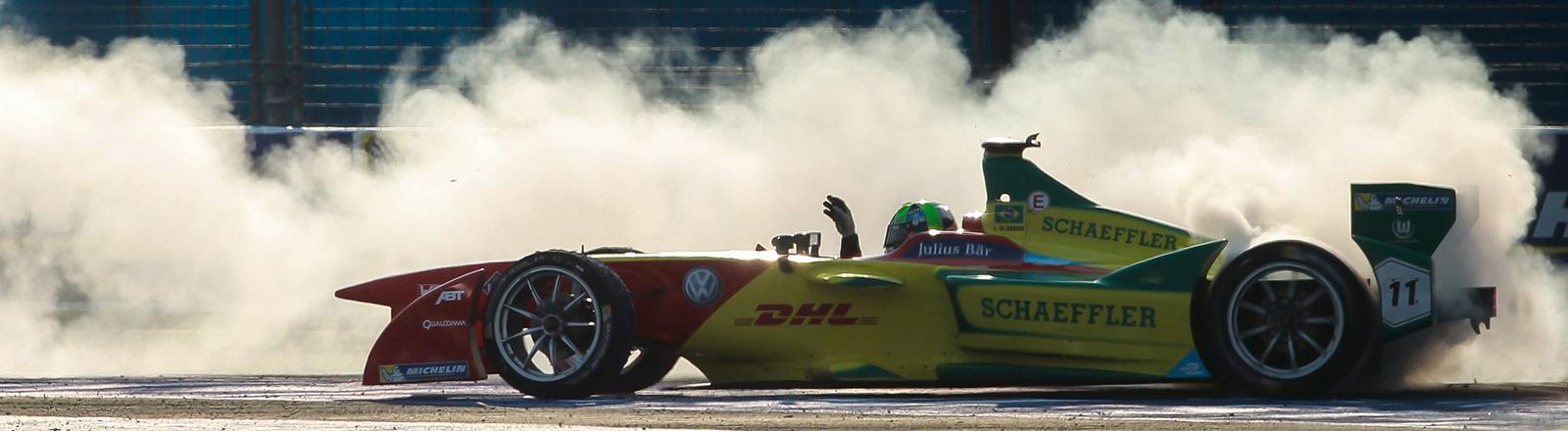 Ein Formula E Rennwagen