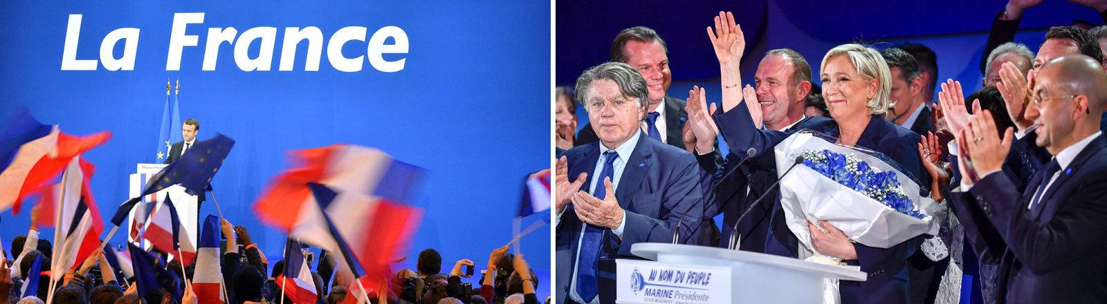 Macron und Le Pen, Collage DRadio Wissen
