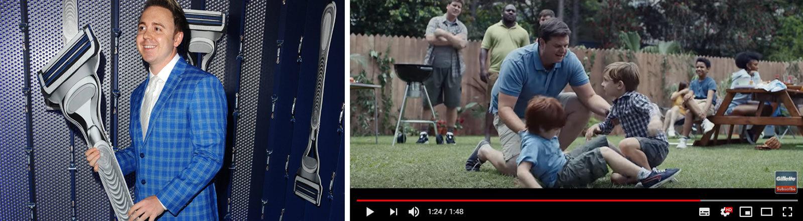 """John Galea mit großem Gillette-Papprasierer und Ausschnitt aus dem Gillette-Werbespot """"We Believe: The Best Men Can Be"""" bei Youtube (Screenshot Deutschlandfunk Nova)"""