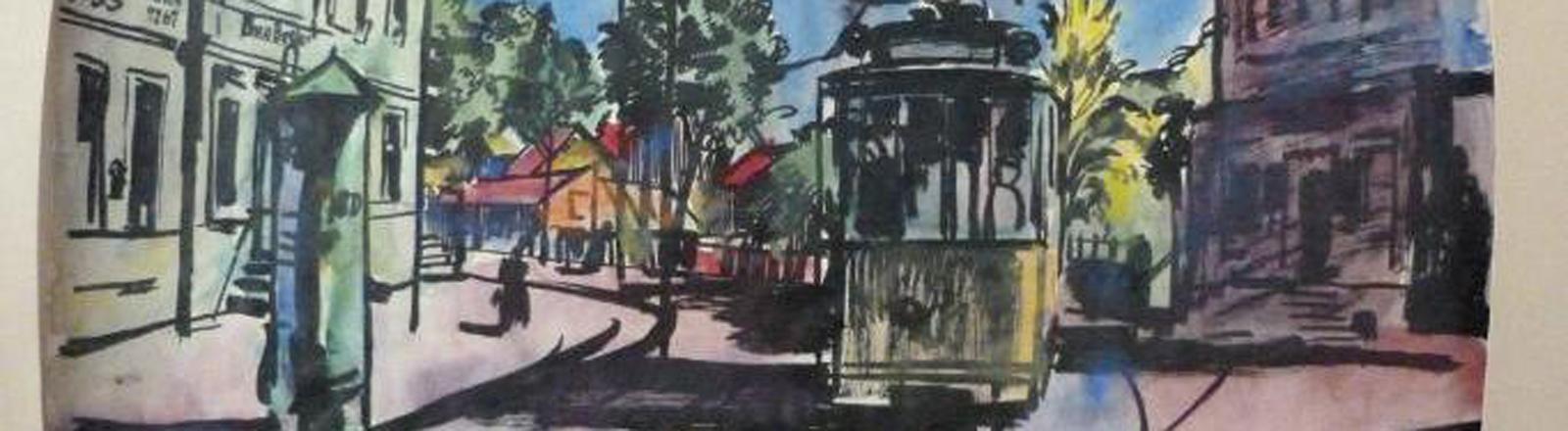 """Das Aquarell """"Straßenbahn"""" von Bernhard Kretschmar gehört zum Münchner Kunstfund."""