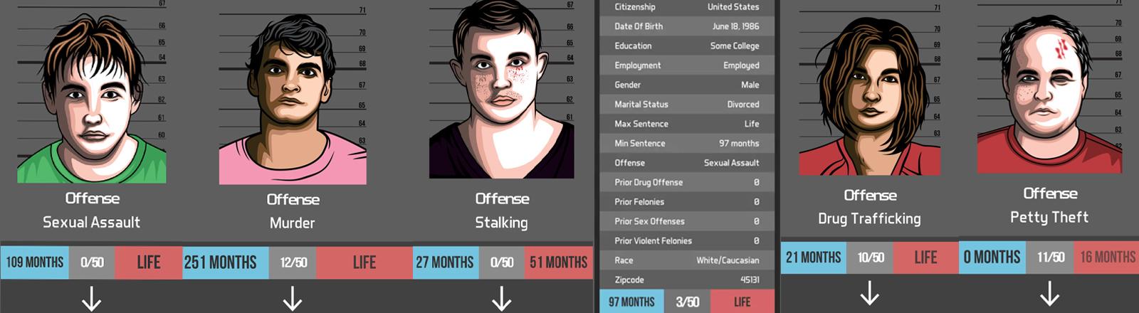 Screenshots Justice.exe /Bildmontage: Deutschlandfunk Nova