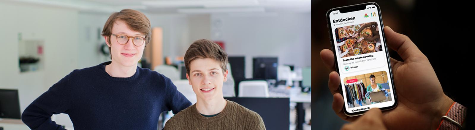 """Paul Bäumler und Ludwig Petersen, Gründer der App """"Letsact"""" / Mobiltelefon mit der geöffneten App """"Letsact"""""""
