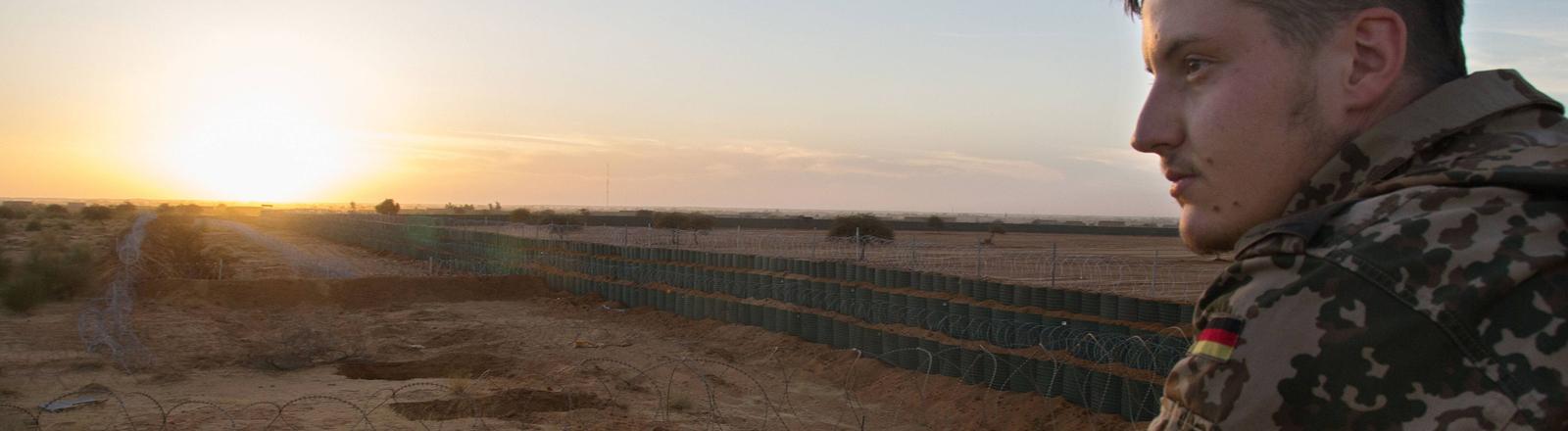 Bundeswehrsoldat der UN-Mission Minusma im Lager in Gao/Mali