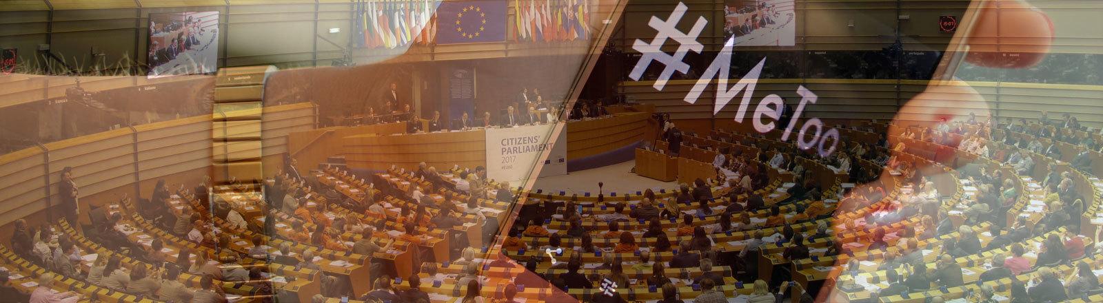 Collage: EU-Parlament in Brüssel und Frauenhand, die Smartphone mit Hashtag #MeeToo hält