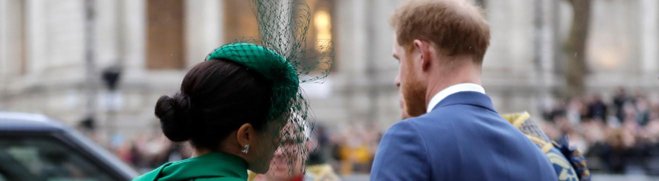 Prinz Harry and Meghan beim Verlassen des jährlichen Commonwealth-Day-Gottesdienstes in Westminster Abbey, London (9.3.2020)