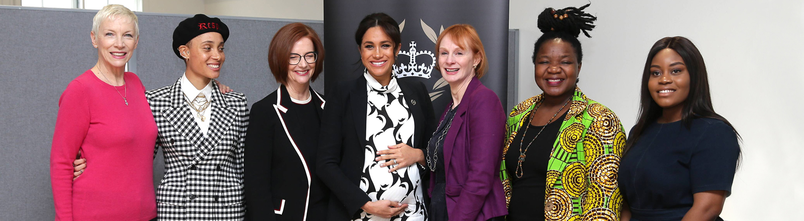 British singer Annie Lennox, British model Adwoa Aboah, former Australian Prime Minister Julia Gillard, Meghan Markle, Duchess of Sussex, British journalist Anne McElvoy, Camfed Regional Director Zimbabwe s Angeline Murimirwa and British campaigner Chrisann Jarrett take part in a panel discussion in London, convened by the Queen s Commonwealth Trust to mark International Women s Day