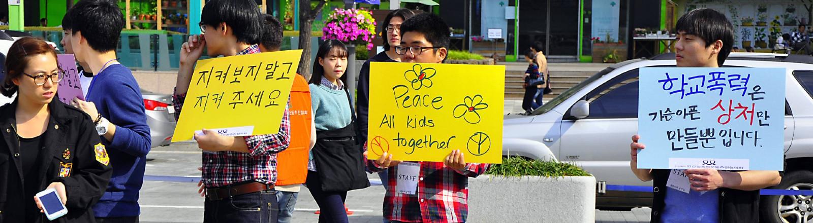 Demo von Schülern gegen Mobbing in Seoul, Südkorea