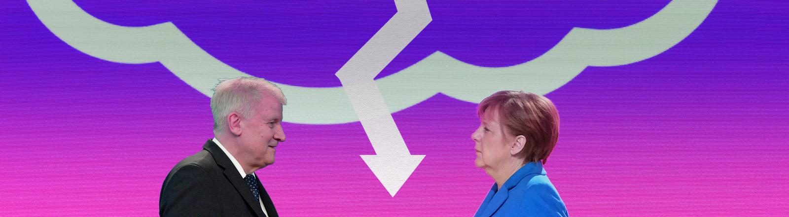Horst Seehofer und Angela Merkel vor einer Gewitterwolke