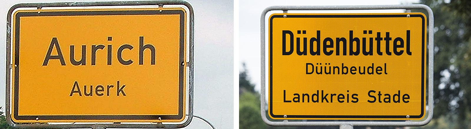 Zweisprachige Ortsschilder von Aurich/Auerk und Düdenbüttel / Düünbeudel