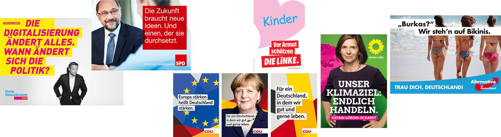Wahlplakate der Parteien zur Bundestagswahl 2017