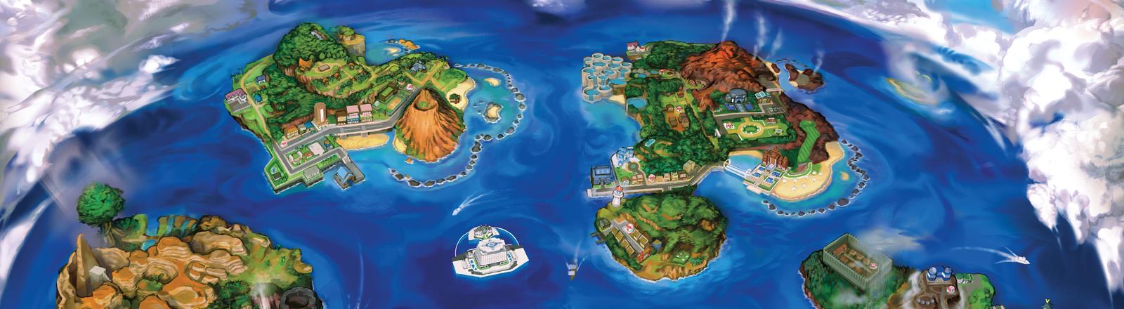 Die Inseln der Pokémon-Welt als Artwork