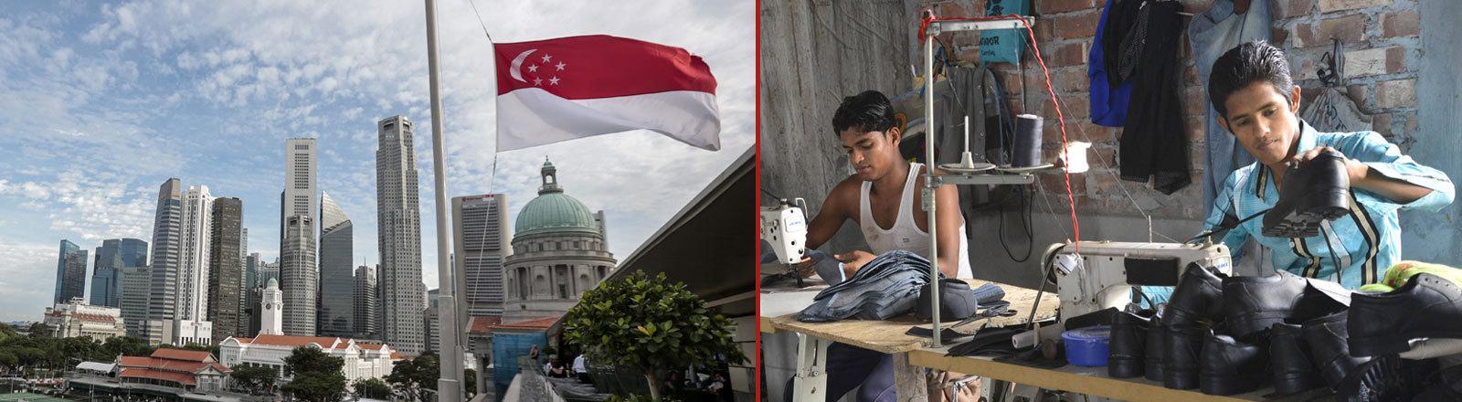 Singapur Skyline und Flagge, Arbeiter aus Bangladesh
