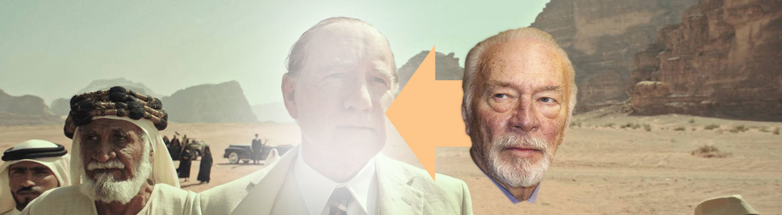 """Filmstill """"Alles Geld der Welt"""" von Ridley Scott: Das Gesicht von Kevin Spacey ist leicht ausradiert, daneben das Gesicht von Christopher Plummer, der Spacey ersetzen soll"""
