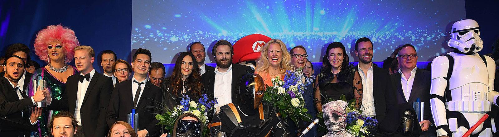Gruppenbild Verleihung des Deutschen Computerspielpreises 2017 in Berlin