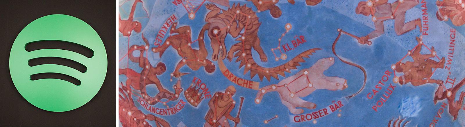 Sternzeichen im Planetarium / Spotify-Smbol (Collage Deutschlandfunk Nova)