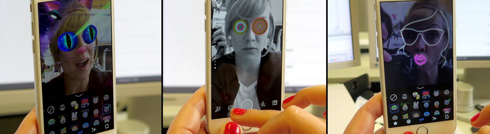 Selfie mit lustigen Filtern