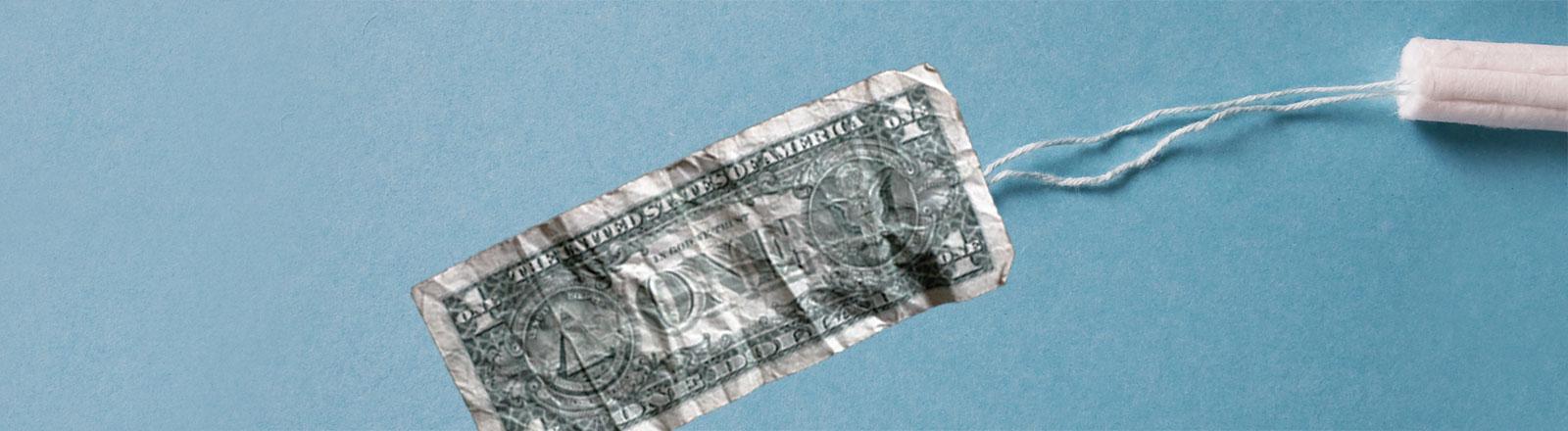 Tampon und Dollarnote