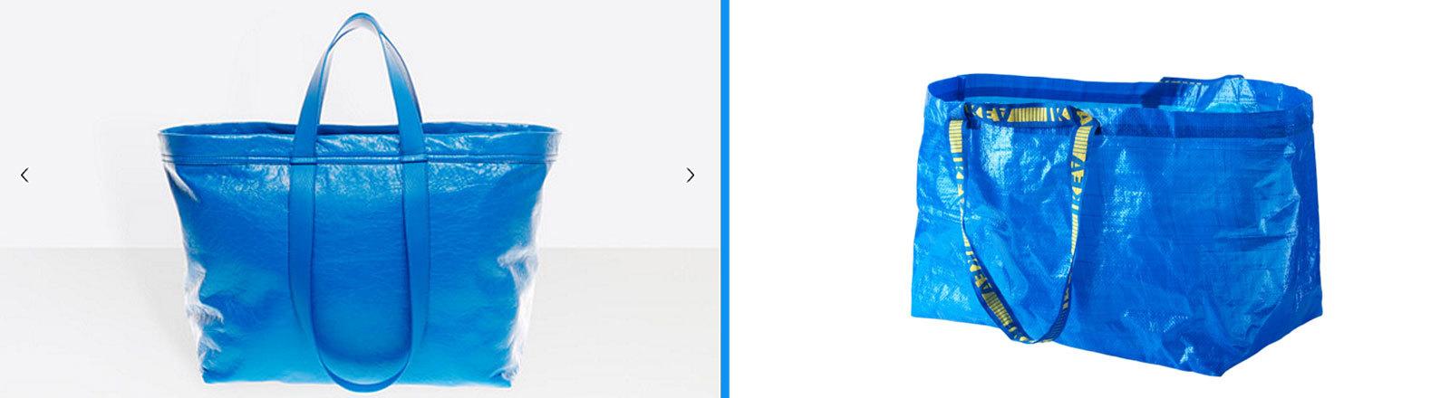 blaue Balenciaga-Tasche | blaue Ikea-Tasche
