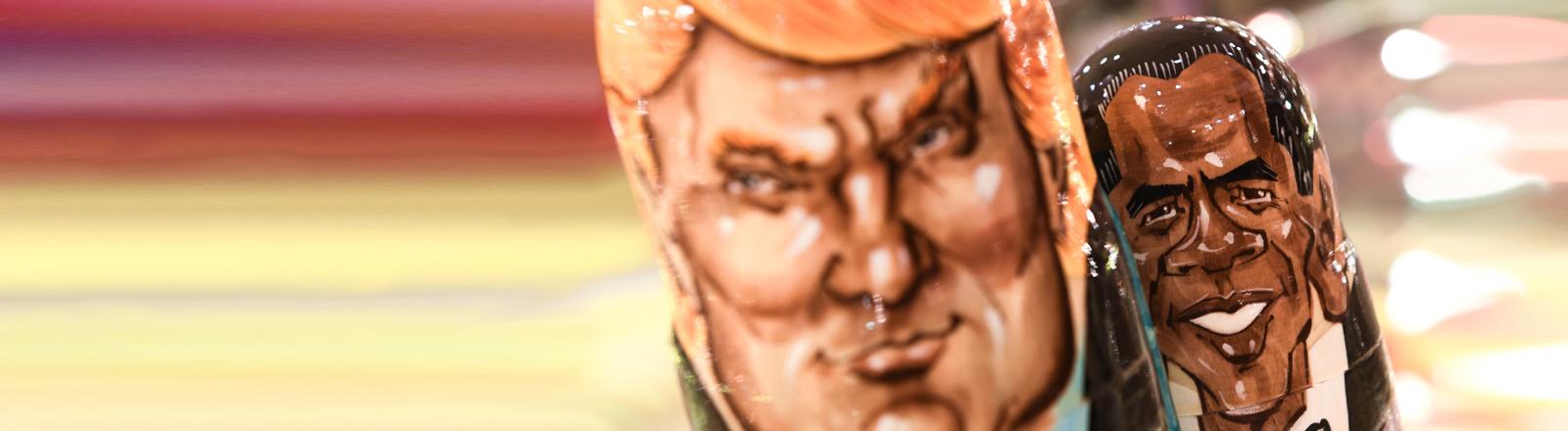 Donald Trump und Barack Obama als Matroschka-Puppen