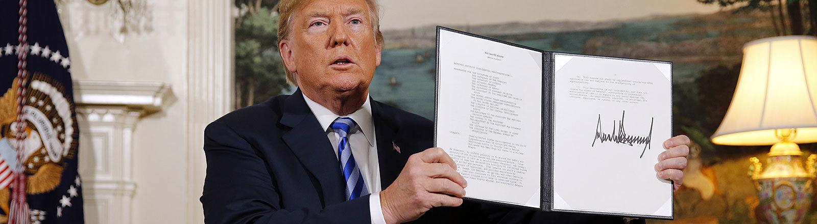 Donald Trump am 8.5.2018 im Weißen Haus