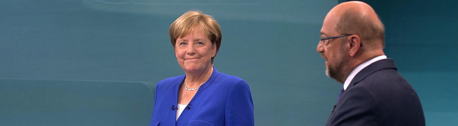Merkel und Schulz beim TV-Duell 2017