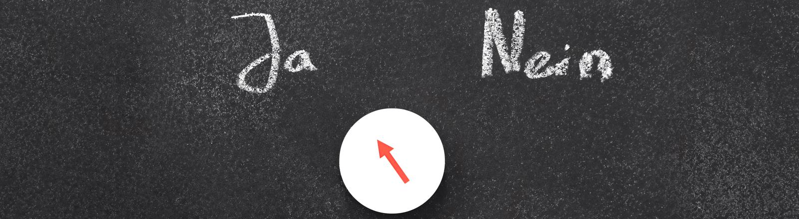 Auf einer Tafel stehen die Worte Ja und Nein, darunter ein Pfeil, der auf Ja zeigt