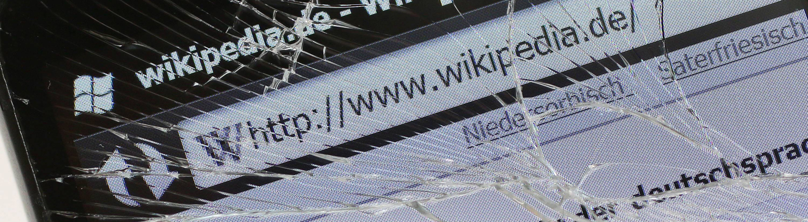 Zersplittertes Smartphone-Display mit Wikipedia-Seite
