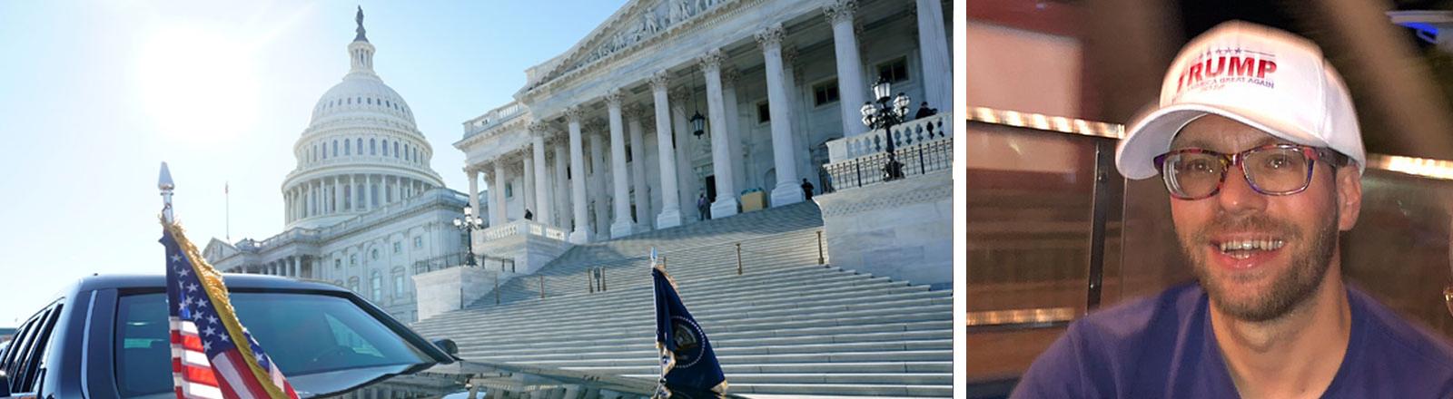 Benjamin Wolfmeier, Mitglied der Republicans Overseas Germany. daneben das US-Kongressgebäude mit der Limousine von Donald Trump