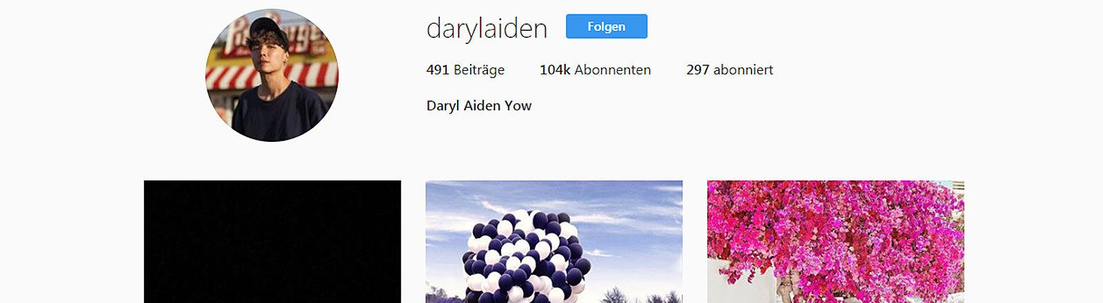 Screenshot des Instagramaccounts von Daryl Aiden Yow