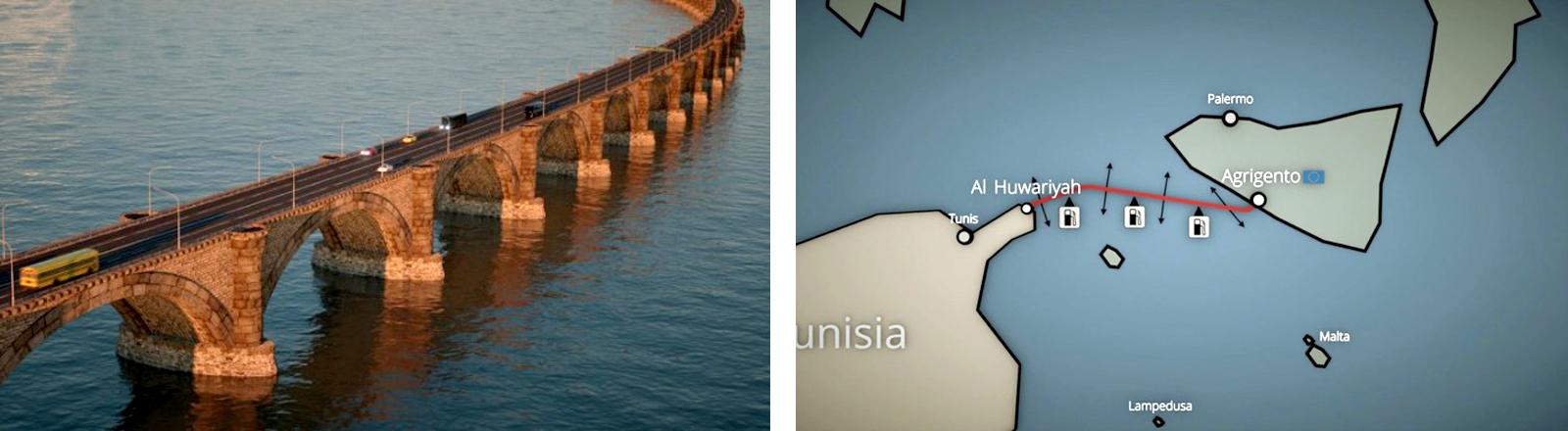 Das Zentrum für politische Schönheit spielt mit Utopien. Hier eine Brücke zwischen Europa und Nordafrika
