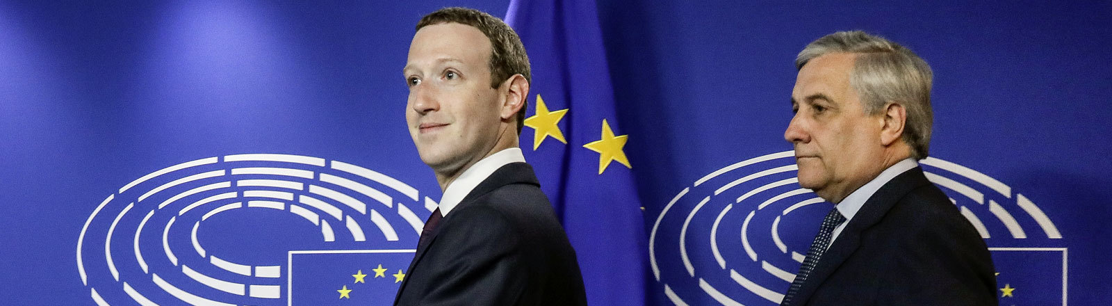 Mark Zuckerberg und Antonio Tajani im EU-Parlament