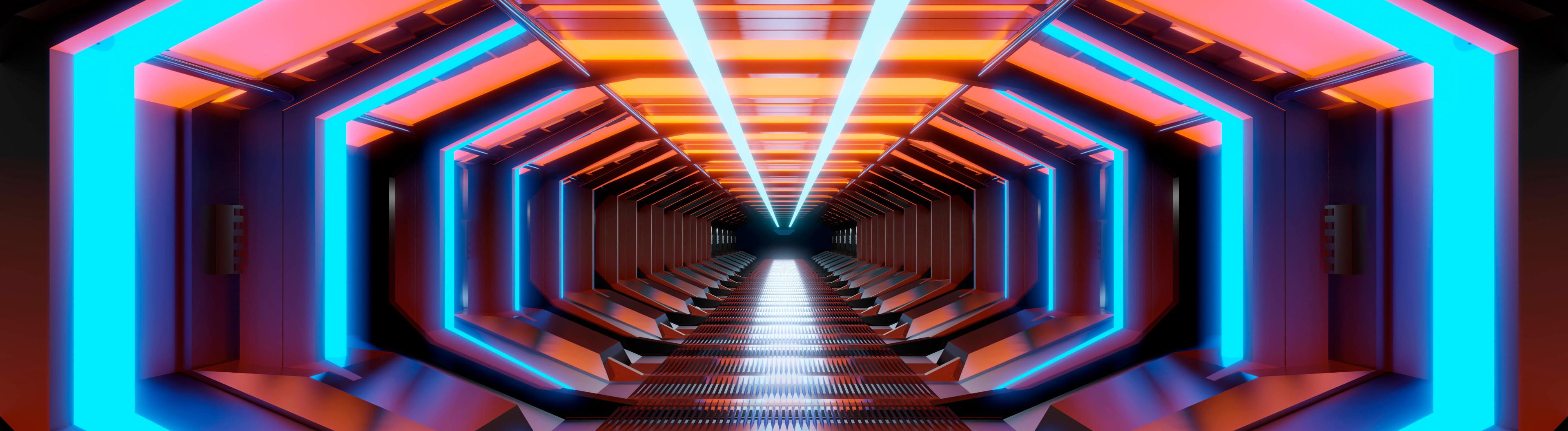 Lichtkanal mit verschiedenen Farben in Raumschiffoptik