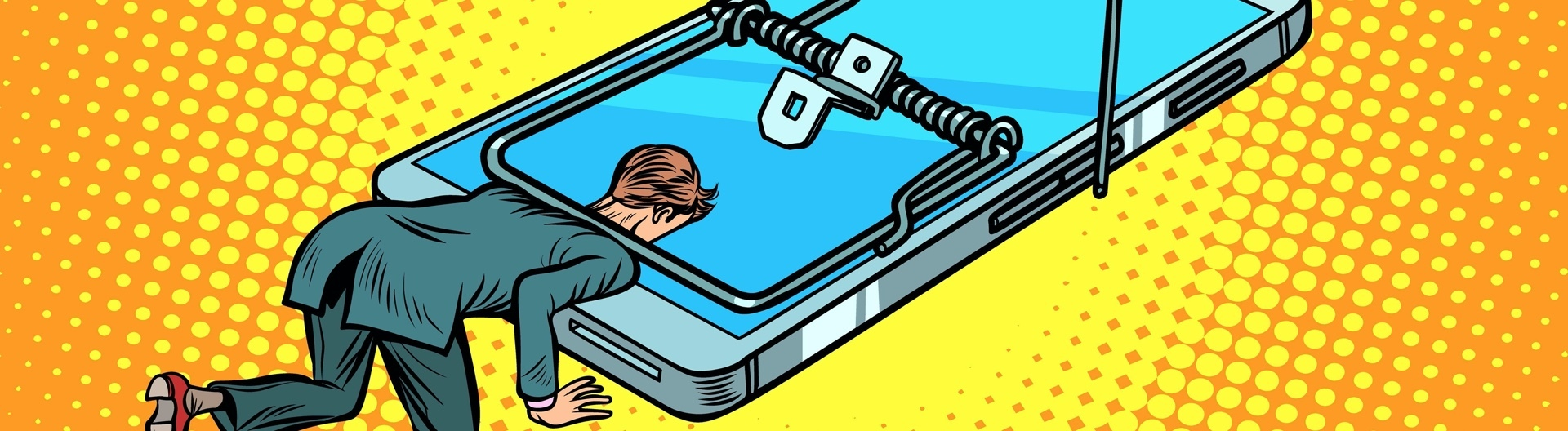 Comic, Mann wird in einer Mausefalle die auf einem Smartphone befestigt ist, festgehalten