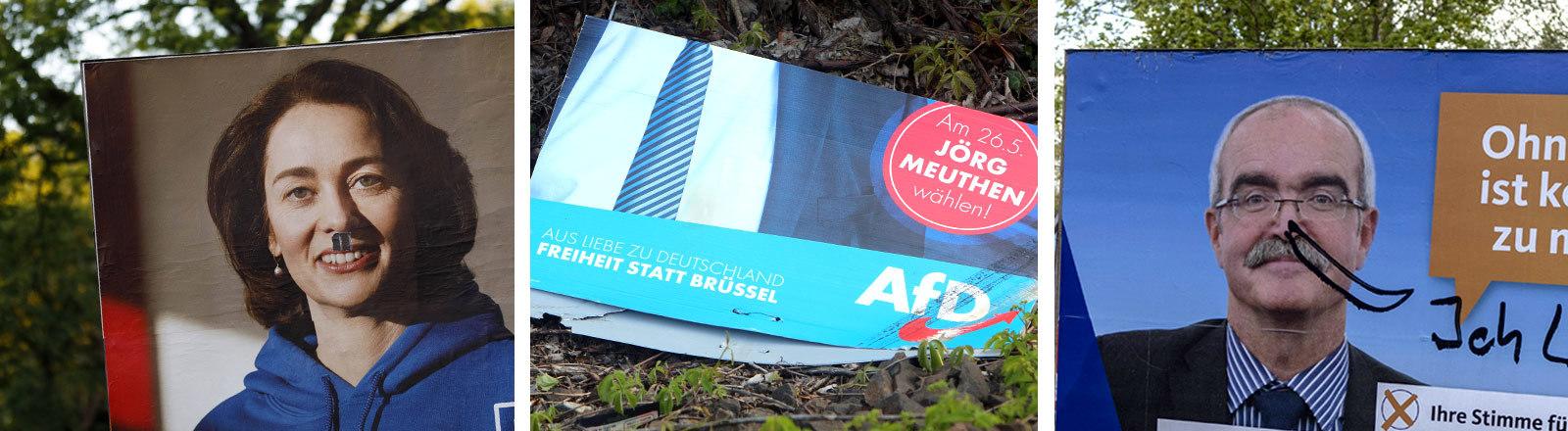Collage: zerstörte und beschmierte EU-Wahl-Plakate