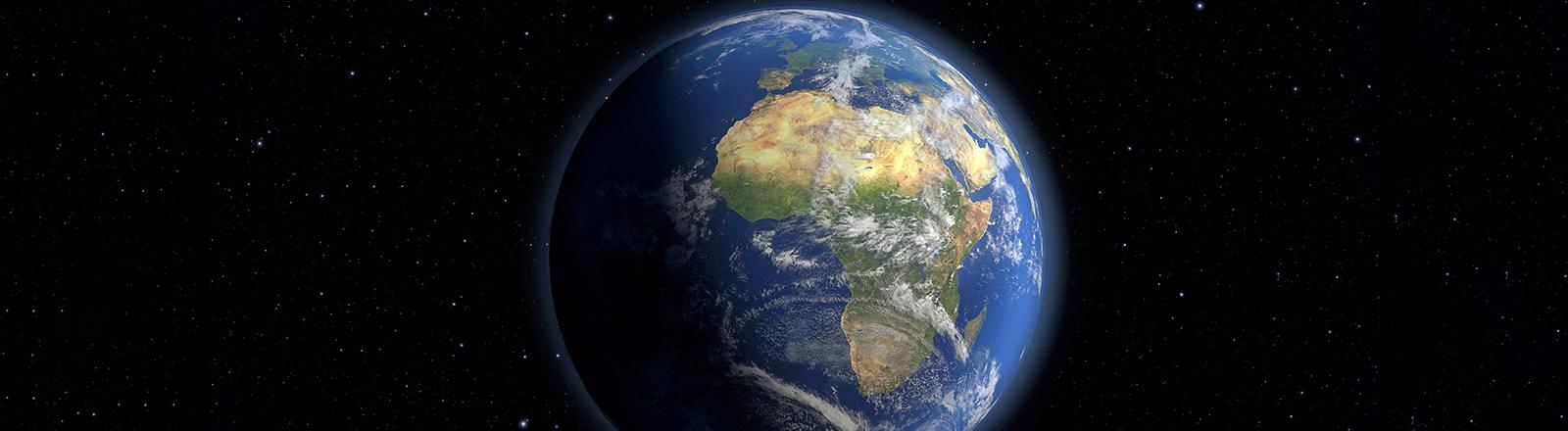 Blick auf die Erde aus dem Weltraum.