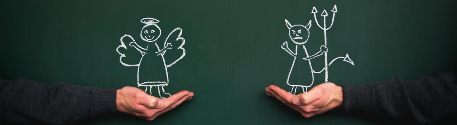 Engel und Teufel auf eine Tafel gemalt.